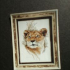 Needle art of a lioness